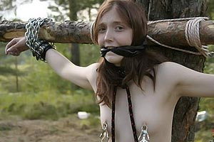 Brown-haired slave gril